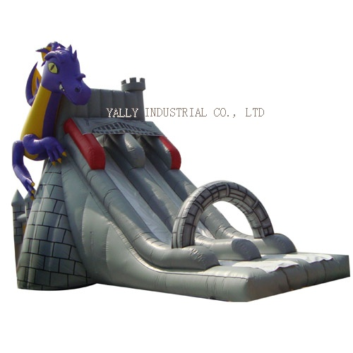 wizard palace and purple dragon inflatable slide