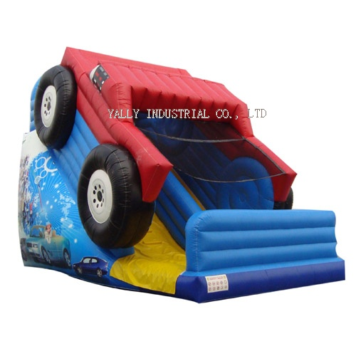 red car inflatable slide