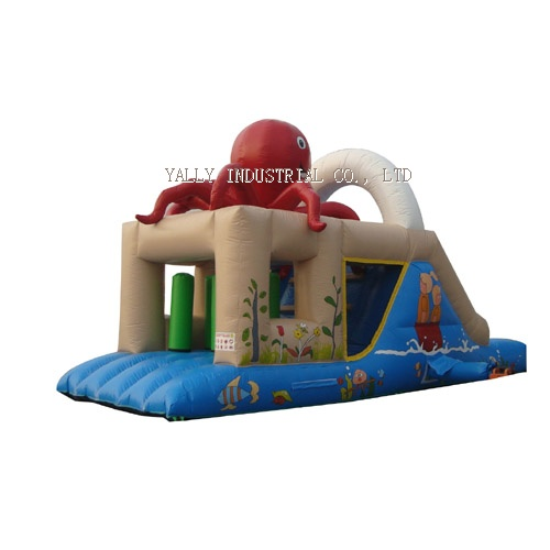 Red octopus inflatable bouncy slide