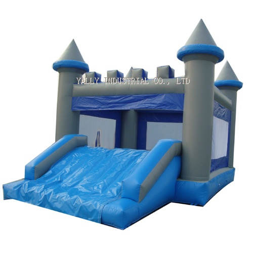 Gray and blue inflatable moonwalk