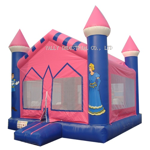 pink princess inflatable castle