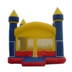 yellow and blue inflatable castle
