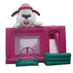 Lovely white dog inflatable castle and slide