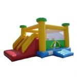 Yellow and red inflatable bounce house