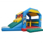 Inflatable bounce house with dual slide