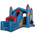 blue inflatable castle