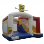 sponge bob inflatable moonwalk with slide
