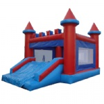 red and blue inflatable moonwalk
