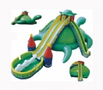 big green turtles inflatable slide with double slideway for children party