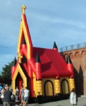 red roof air tight inflatable catholic church inflatable house tent