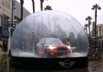 huge clear Christmas snow globe product show case for auto display