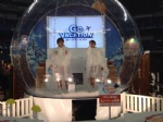 transparent life size snow dome for holiday movie night or product promotion