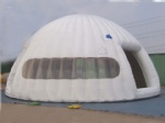 White mobile inflatable igloo tent with clear window